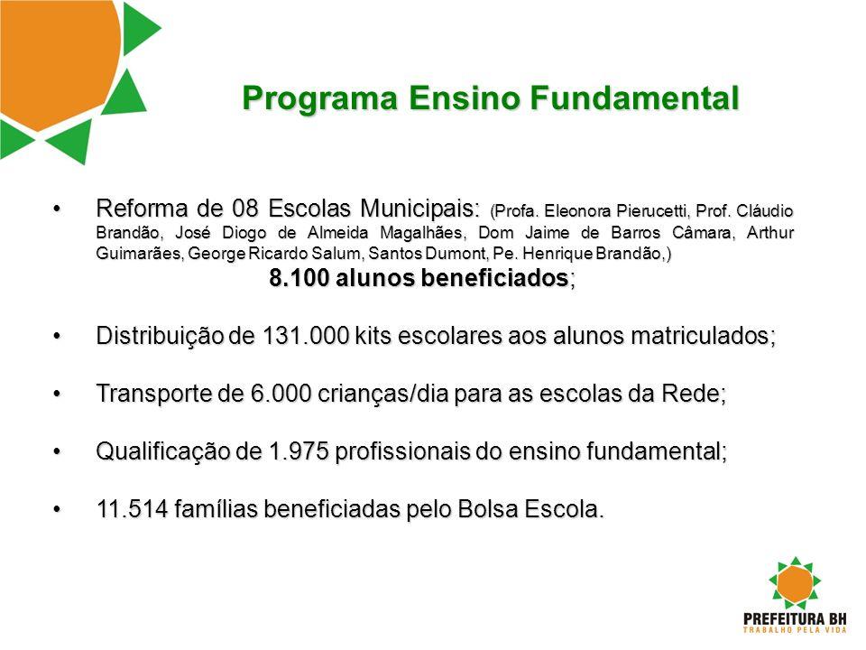 Programa Ensino Fundamental Reforma de 08 Escolas Municipais: (Profa. Eleonora Pierucetti, Prof. Cláudio Brandão, José Diogo de Almeida Magalhães, Dom