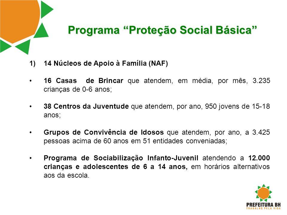 Programa Proteção Social Básica 1)14 Núcleos de Apoio à Família (NAF) 16 Casas de Brincar que atendem, em média, por mês, 3.235 crianças de 0-6 anos;