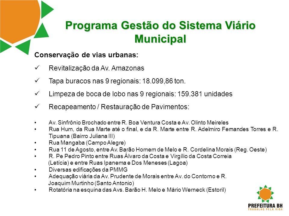 Programa Gestão do Sistema Viário Municipal Conservação de vias urbanas: Revitalização da Av. Amazonas Tapa buracos nas 9 regionais: 18.099,86 ton. Li