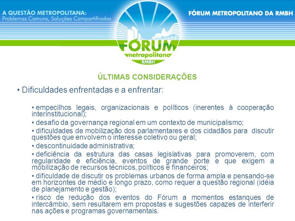 Q uestão metropolitana – desafio para o planejamento e a gestão (as alternativas institucionais serão insuficientes se não houver um real compromisso dos municípios de buscarem acordos que primem pela cooperação e pela solidariedade).