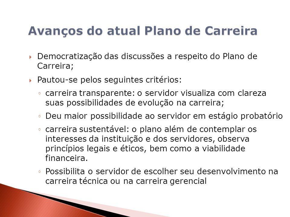 Democratização das discussões a respeito do Plano de Carreira; Pautou-se pelos seguintes critérios: carreira transparente: o servidor visualiza com cl