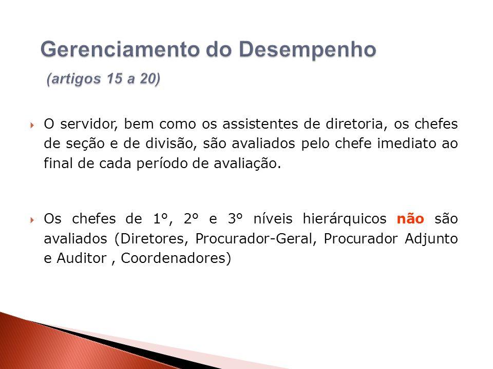 O servidor, bem como os assistentes de diretoria, os chefes de seção e de divisão, são avaliados pelo chefe imediato ao final de cada período de avali