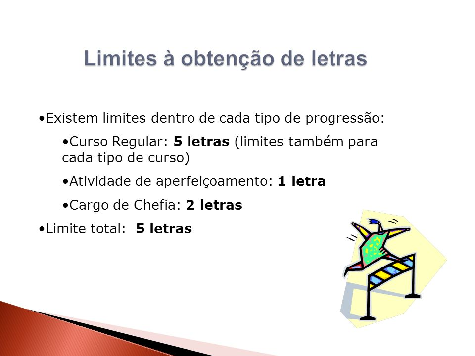 Existem limites dentro de cada tipo de progressão: Curso Regular: 5 letras (limites também para cada tipo de curso) Atividade de aperfeiçoamento: 1 le