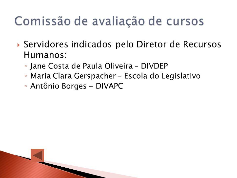 Servidores indicados pelo Diretor de Recursos Humanos: Jane Costa de Paula Oliveira – DIVDEP Maria Clara Gerspacher – Escola do Legislativo Antônio Bo