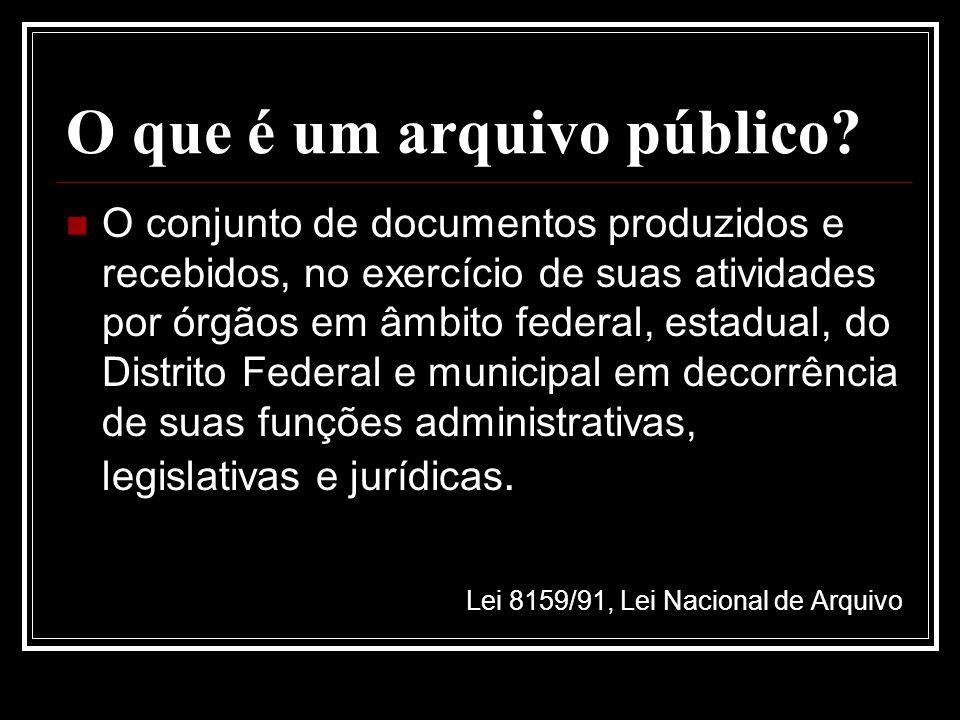 O que é um arquivo público? O conjunto de documentos produzidos e recebidos, no exercício de suas atividades por órgãos em âmbito federal, estadual, d