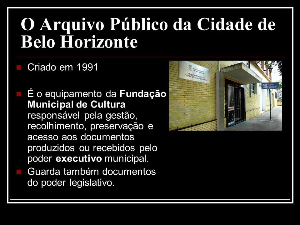 O Arquivo Público da Cidade de Belo Horizonte Criado em 1991 É o equipamento da Fundação Municipal de Cultura responsável pela gestão, recolhimento, p