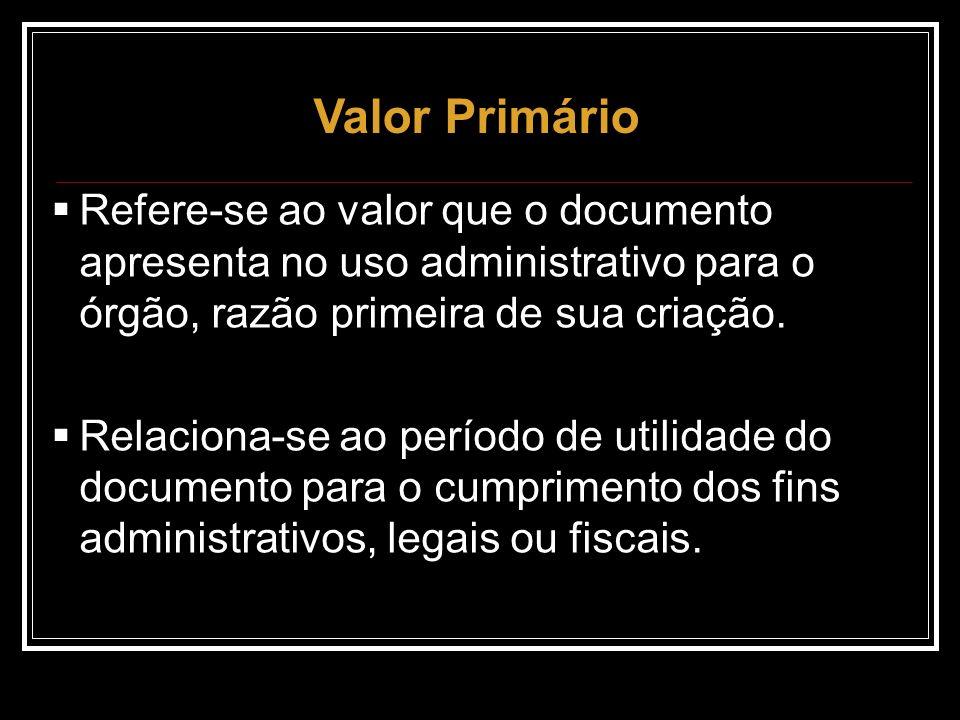Refere-se ao valor que o documento apresenta no uso administrativo para o órgão, razão primeira de sua criação. Relaciona-se ao período de utilidade d