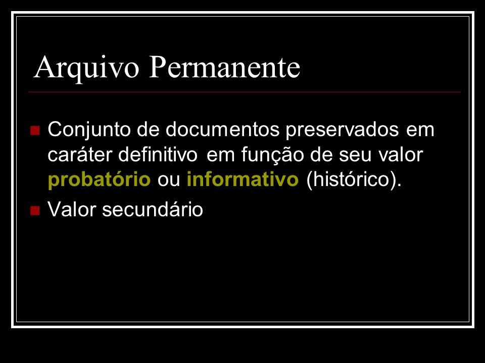 Arquivo Permanente Conjunto de documentos preservados em caráter definitivo em função de seu valor probatório ou informativo (histórico). Valor secund
