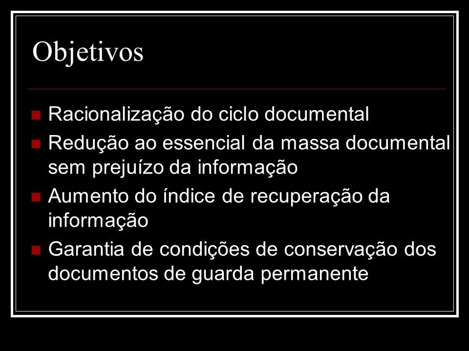 Objetivos Racionalização do ciclo documental Redução ao essencial da massa documental sem prejuízo da informação Aumento do índice de recuperação da i