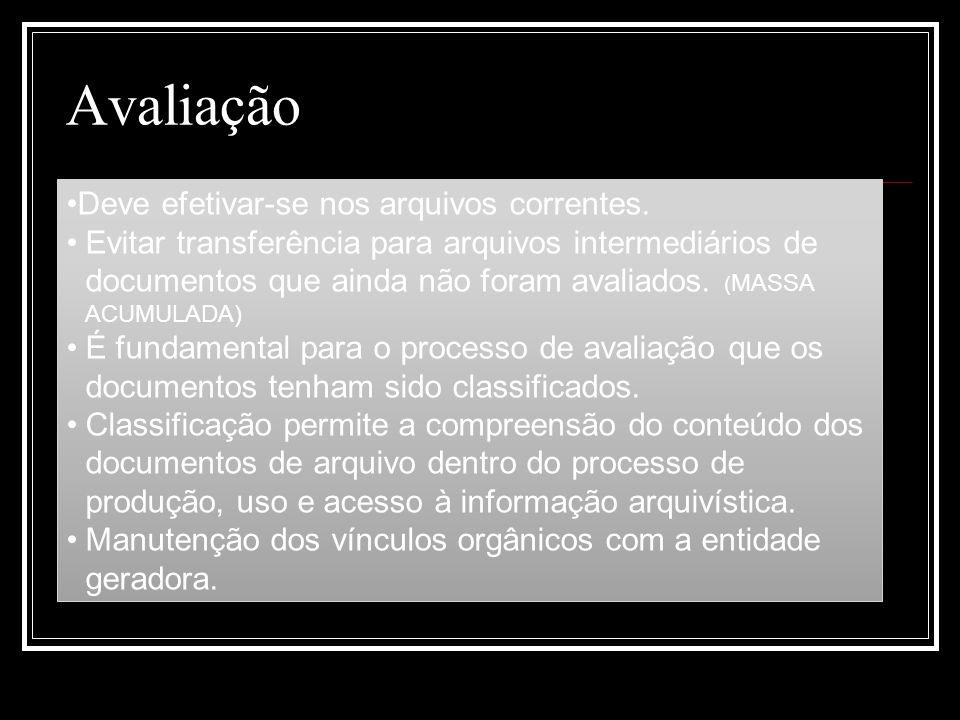 Avaliação Deve efetivar-se nos arquivos correntes. Evitar transferência para arquivos intermediários de documentos que ainda não foram avaliados. ( MA