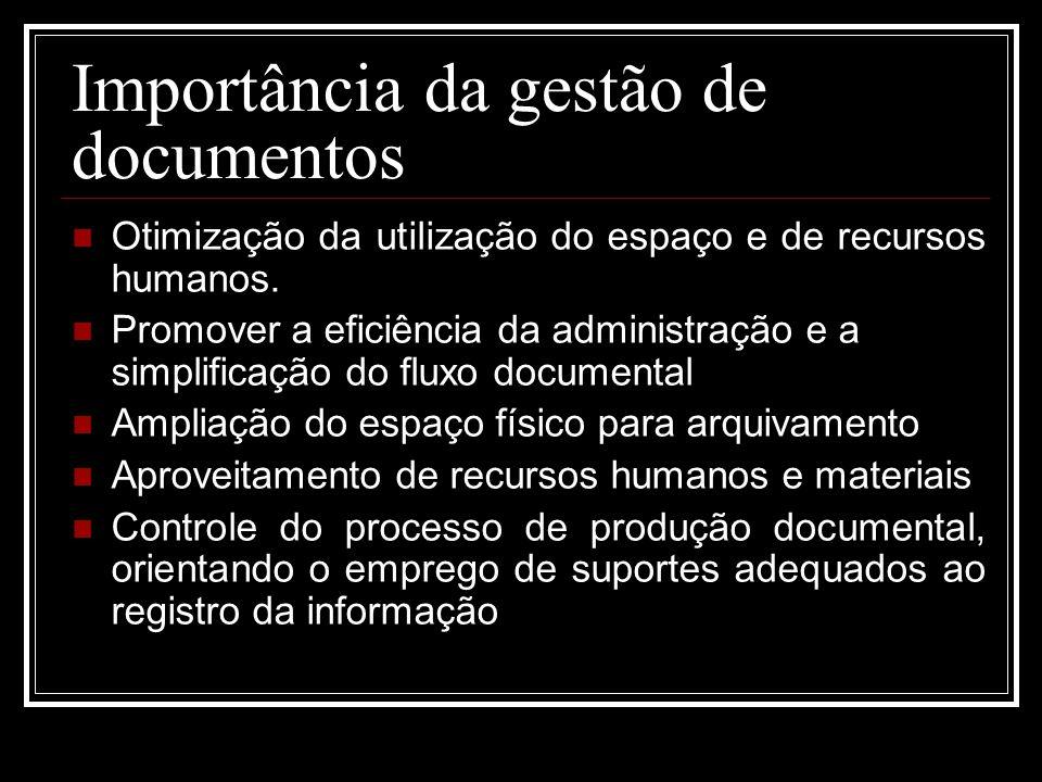 Importância da gestão de documentos Otimização da utilização do espaço e de recursos humanos. Promover a eficiência da administração e a simplificação