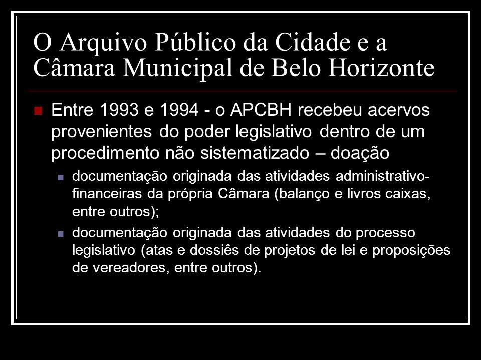 O Arquivo Público da Cidade e a Câmara Municipal de Belo Horizonte Entre 1993 e 1994 - o APCBH recebeu acervos provenientes do poder legislativo dentr