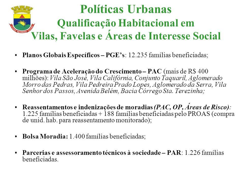 Políticas Urbanas Qualificação Habitacional em Vilas, Favelas e Áreas de Interesse Social Planos Globais Específicos – PGEs: 12.235 famílias beneficia