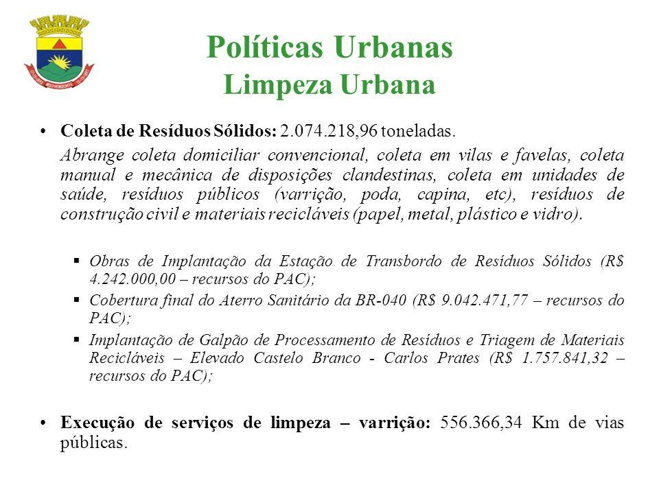 Políticas Urbanas Limpeza Urbana Coleta de Resíduos Sólidos: 2.074.218,96 toneladas. Abrange coleta domiciliar convencional, coleta em vilas e favelas