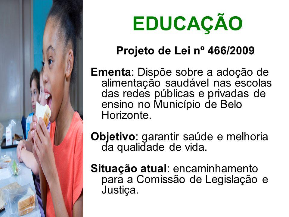 EDUCAÇÃO Projeto de Lei nº 466/2009 Ementa: Dispõe sobre a adoção de alimentação saudável nas escolas das redes públicas e privadas de ensino no Munic