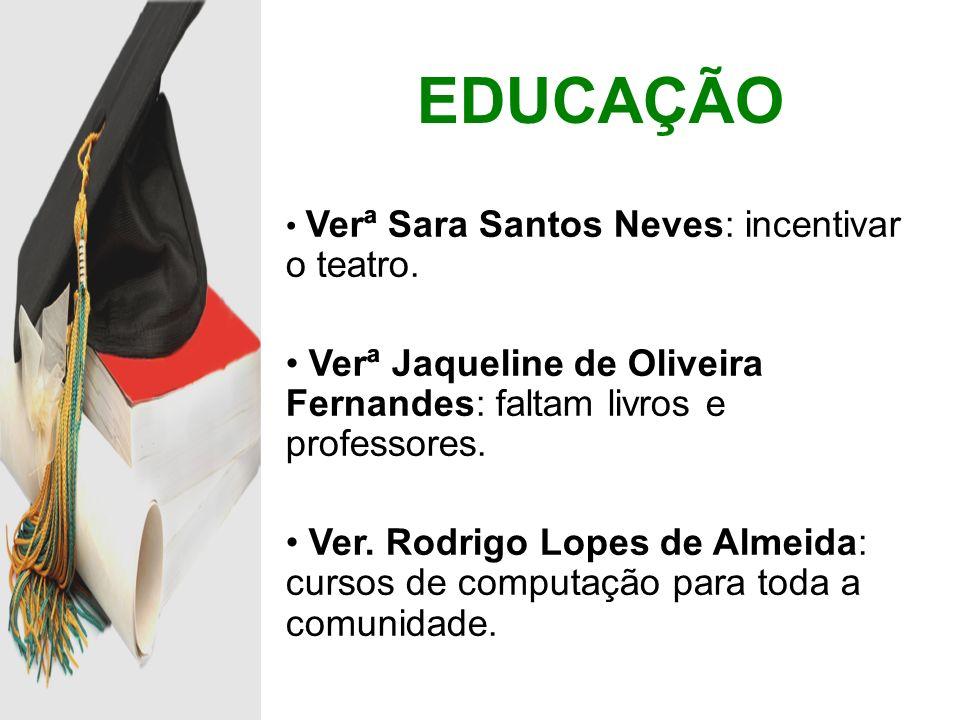 Verª Sara Santos Neves: incentivar o teatro. Verª Jaqueline de Oliveira Fernandes: faltam livros e professores. Ver. Rodrigo Lopes de Almeida: cursos