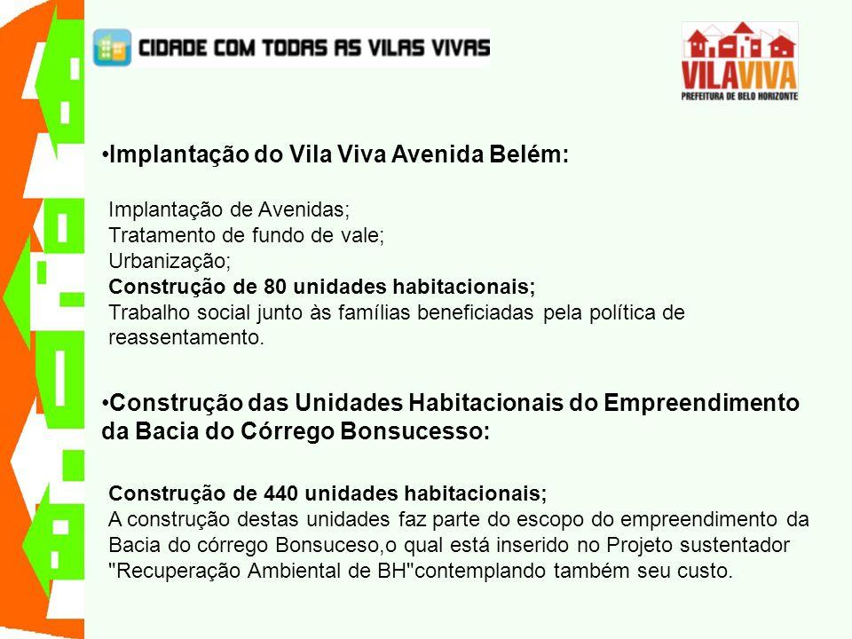 Implantação do Vila Viva Avenida Belém: Implantação de Avenidas; Tratamento de fundo de vale; Urbanização; Construção de 80 unidades habitacionais; Tr