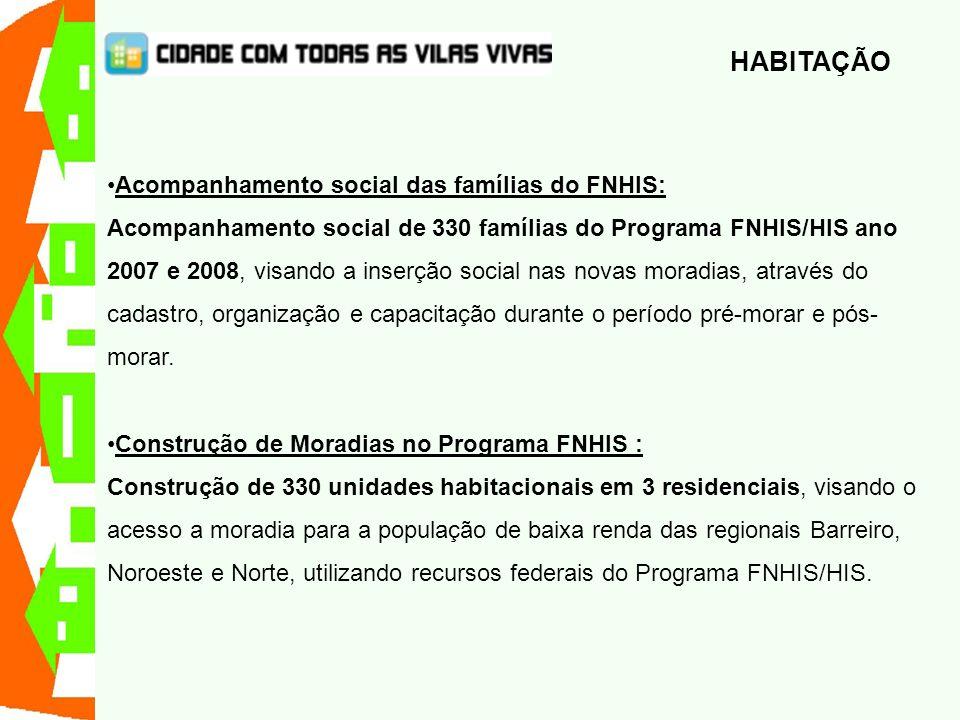 Acompanhamento social das famílias do FNHIS: Acompanhamento social de 330 famílias do Programa FNHIS/HIS ano 2007 e 2008, visando a inserção social na