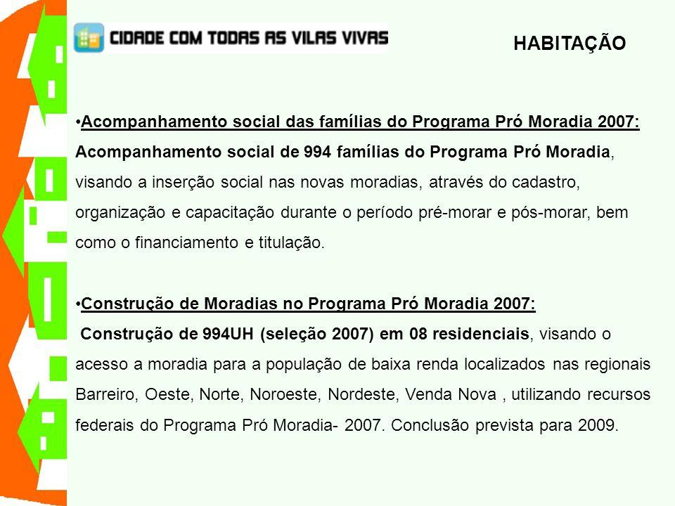Acompanhamento social das famílias do Programa Pró Moradia 2007: Acompanhamento social de 994 famílias do Programa Pró Moradia, visando a inserção soc
