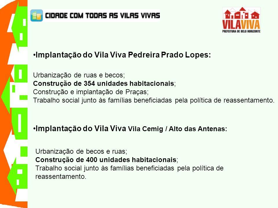 Implantação do Vila Viva Pedreira Prado Lopes: Urbanização de ruas e becos; Construção de 354 unidades habitacionais; Construção e implantação de Praç