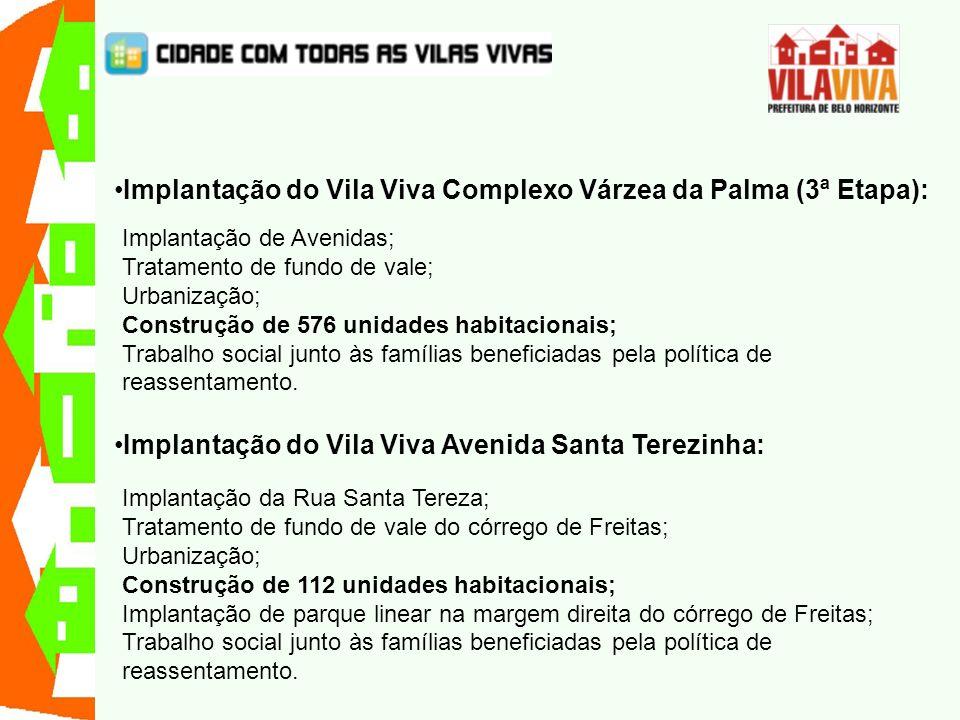 Implantação do Vila Viva Complexo Várzea da Palma (3ª Etapa): Implantação de Avenidas; Tratamento de fundo de vale; Urbanização; Construção de 576 uni