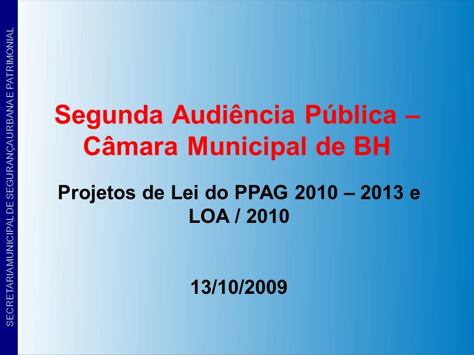 Segunda Audiência Pública – Câmara Municipal de BH Projetos de Lei do PPAG 2010 – 2013 e LOA / 2010 13/10/2009 SECRETARIA MUNICIPAL DE SEGURANÇA URBAN