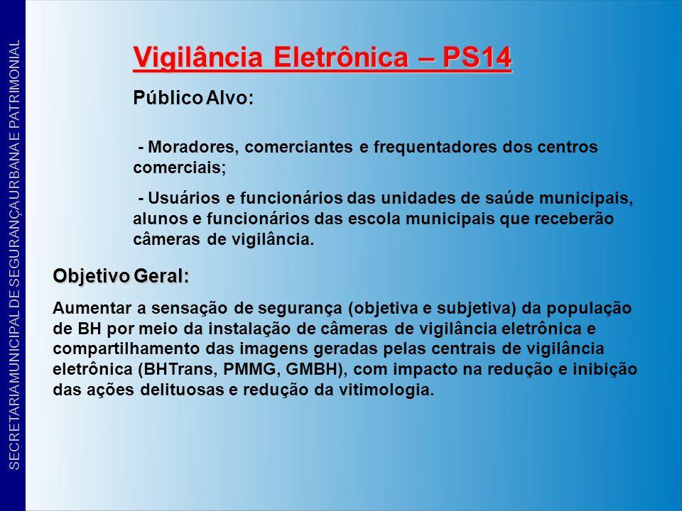 Resultados / Metas 1 – Redução em até 30% do número de intervenções relacionadas a danos, furtos, vias de fato e invasões nas escolas municipais e unidades de saúde que tiverem câmeras de vídeo-monitoramento instaladas; 2 – Instalação de câmeras de vídeo-monitoramento em 170 unidades de ensino e de saúde municipais até 2012 (20 em 2009 – 50 em 2010 – 50 em 2011 e 50 em 2012); 3 – Compartilhamento das imagens geradas pelas centrais de vídeo- monitoramento da BHTrans, GMBH e PMMG (Olho Vivo), evitando sobreposição de esforços e equipamentos, bem como despesas desnecessárias; 4 – Parceria com a PMMG na instalação de 75 câmeras do Programa Olho Vivo da PMMG na Regional Venda Nova e 75 na Regional Barreiro; 5 – Instalação de uma Central de Vídeo-monitoramento na Sede da GMBH, que também servirá de apoio ao GGI-M.