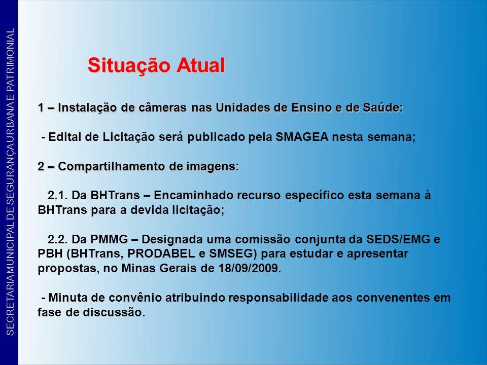 Situação Atual 1 – Instalação de câmeras nas Unidades de Ensino e de Saúde: - Edital de Licitação será publicado pela SMAGEA nesta semana; 2 – Compart