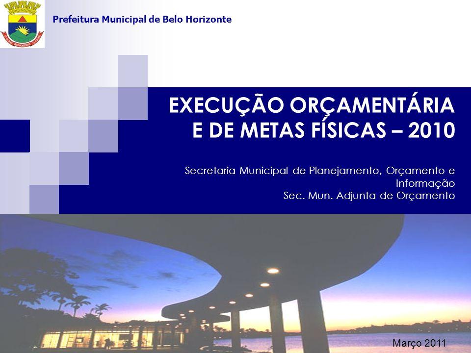 EXECUÇÃO ORÇAMENTÁRIA E DE METAS FÍSICAS – 2010 Secretaria Municipal de Planejamento, Orçamento e Informação Sec. Mun. Adjunta de Orçamento Secretaria