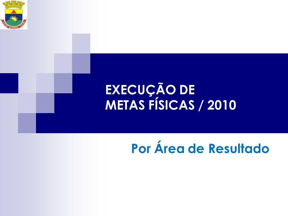 EXECUÇÃO DE METAS FÍSICAS / 2010 Por Área de Resultado