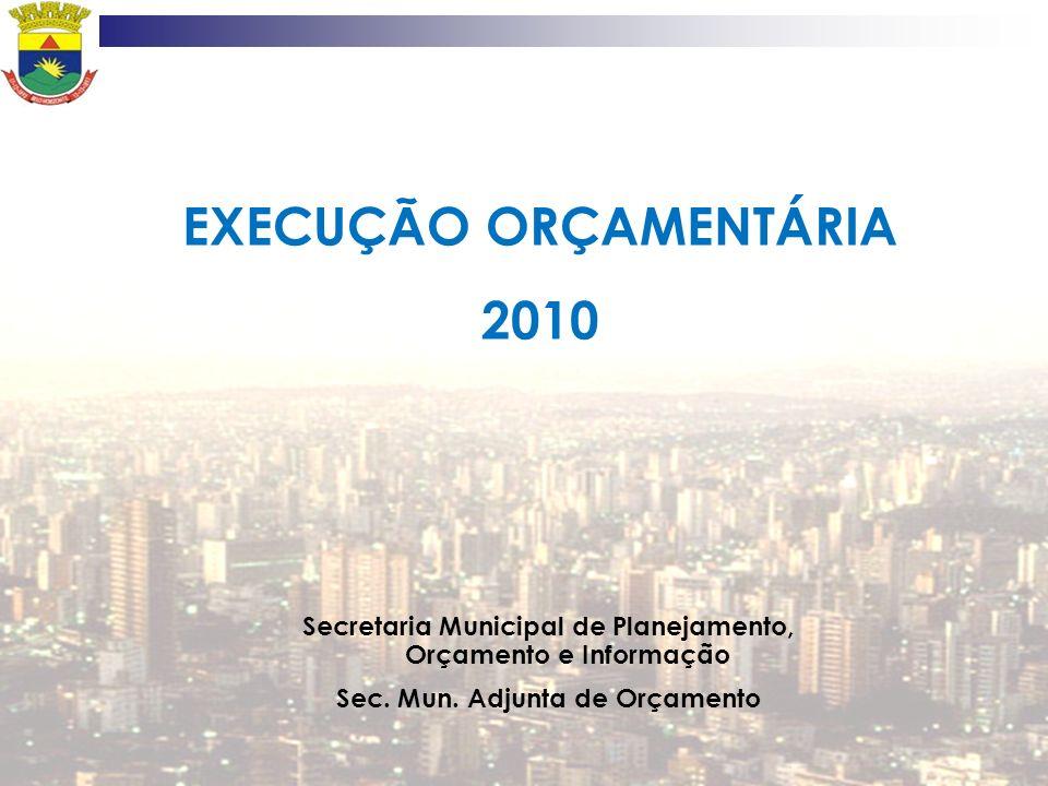 EXECUÇÃO ORÇAMENTÁRIA 2010 Secretaria Municipal de Planejamento, Orçamento e Informação Sec. Mun. Adjunta de Orçamento