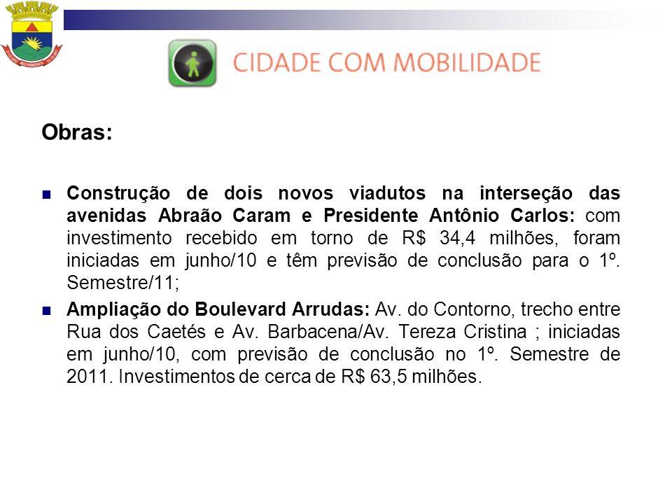 Obras: Construção de dois novos viadutos na interseção das avenidas Abraão Caram e Presidente Antônio Carlos: com investimento recebido em torno de R$
