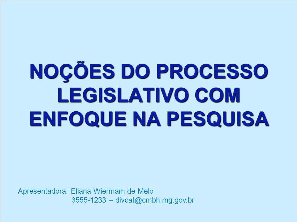 Roteiro: 1.Funções da Câmara Municipal de Belo Horizonte - CMBH 2.Organograma da CMBH 3.Diretoria do Legislativo 4.Processo Legislativo 5.Como pesquisar proposições em tramitação e normas
