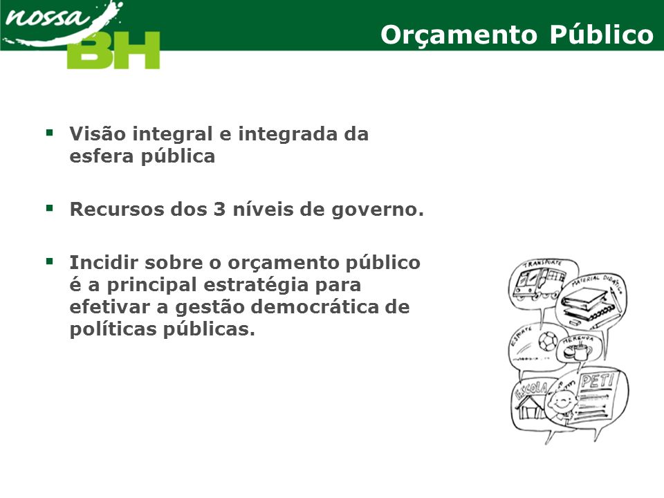 Exemplos de Políticas Públicas em Belo Horizonte Plano BH Metas e Resultados Cidade Saudável Hospital Metropolitano Saúde da Família Melhoria do Atendimento Hospitalar Gestão e Regionalização da Saúde Educação Expansão do Ensino Infantil Expansão da Escola Integrada Melhoria da Qualidade da Educação Cidade Segura Vigilância Eletrônica Espaço Urbano Seguro