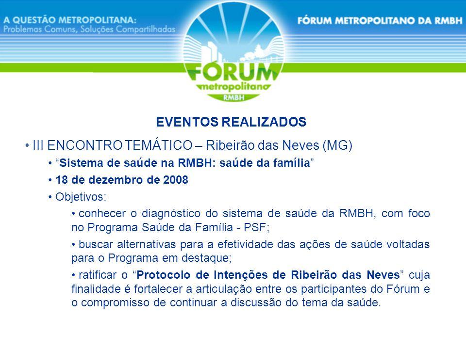 III ENCONTRO TEMÁTICO – Ribeirão das Neves (MG) Sistema de saúde na RMBH: saúde da família 18 de dezembro de 2008 Objetivos: conhecer o diagnóstico do