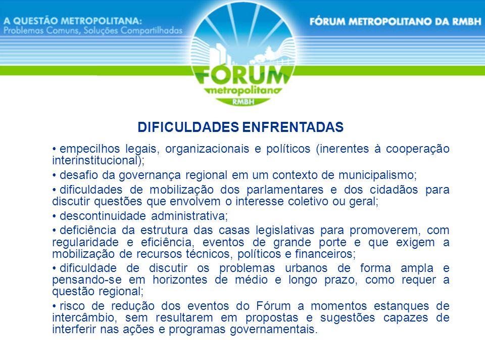 empecilhos legais, organizacionais e políticos (inerentes à cooperação interinstitucional); desafio da governança regional em um contexto de municipal