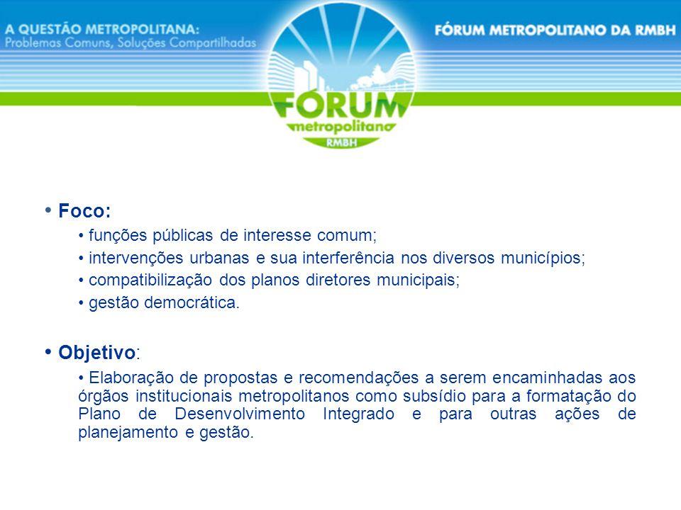 Foco: funções públicas de interesse comum; intervenções urbanas e sua interferência nos diversos municípios; compatibilização dos planos diretores mun