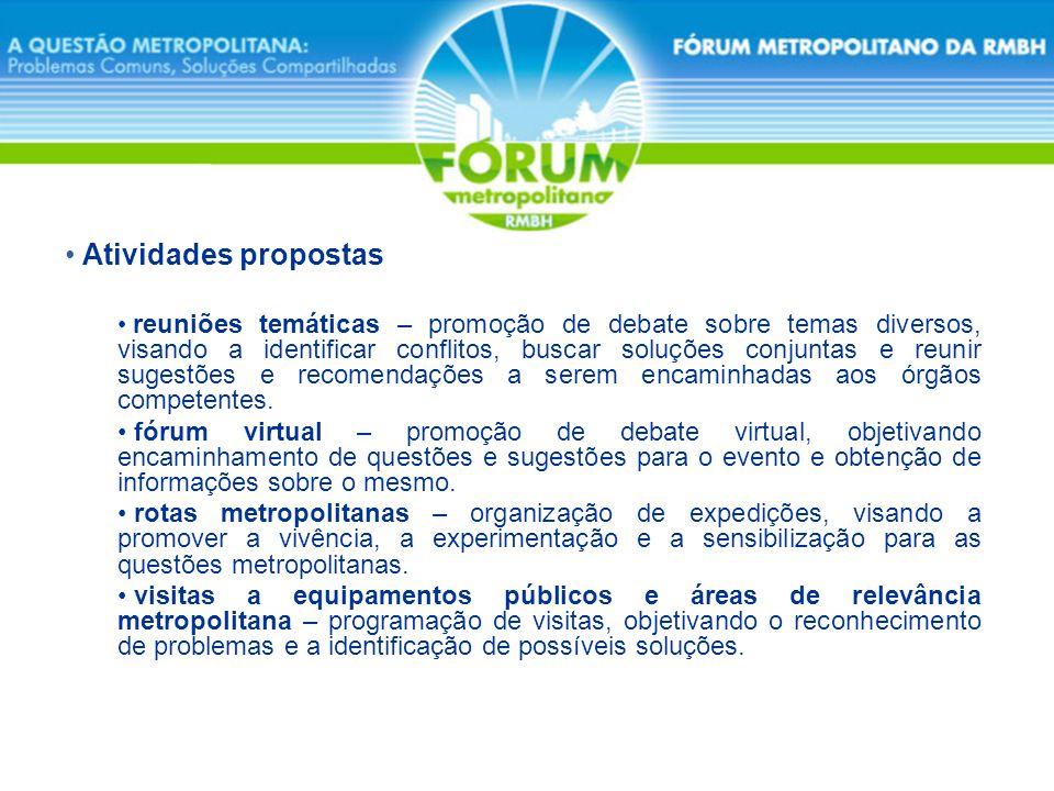 Atividades propostas reuniões temáticas – promoção de debate sobre temas diversos, visando a identificar conflitos, buscar soluções conjuntas e reunir