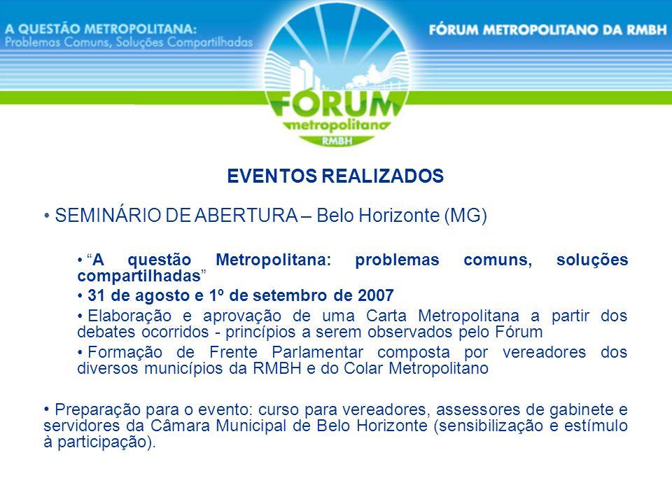 SEMINÁRIO DE ABERTURA – Belo Horizonte (MG) A questão Metropolitana: problemas comuns, soluções compartilhadas 31 de agosto e 1º de setembro de 2007 E