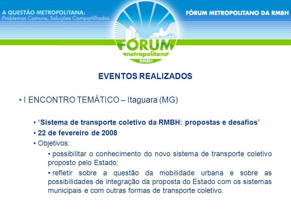 I ENCONTRO TEMÁTICO – Itaguara (MG) Sistema de transporte coletivo da RMBH: propostas e desafios 22 de fevereiro de 2008 Objetivos: possibilitar o con