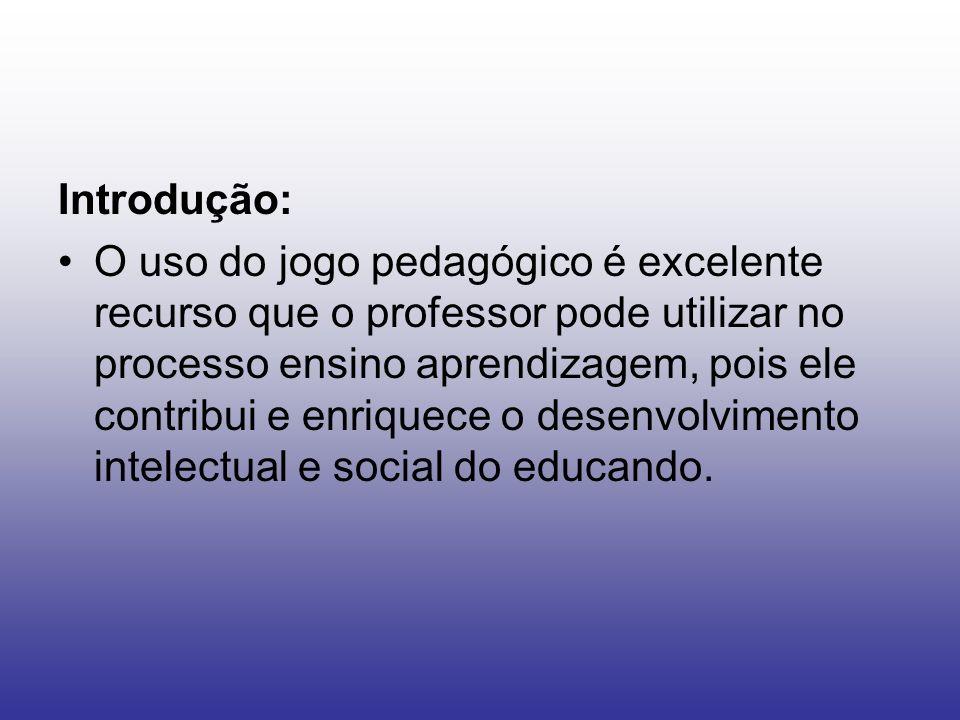 Introdução: O uso do jogo pedagógico é excelente recurso que o professor pode utilizar no processo ensino aprendizagem, pois ele contribui e enriquece