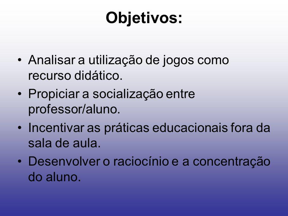 Objetivos: Analisar a utilização de jogos como recurso didático. Propiciar a socialização entre professor/aluno. Incentivar as práticas educacionais f