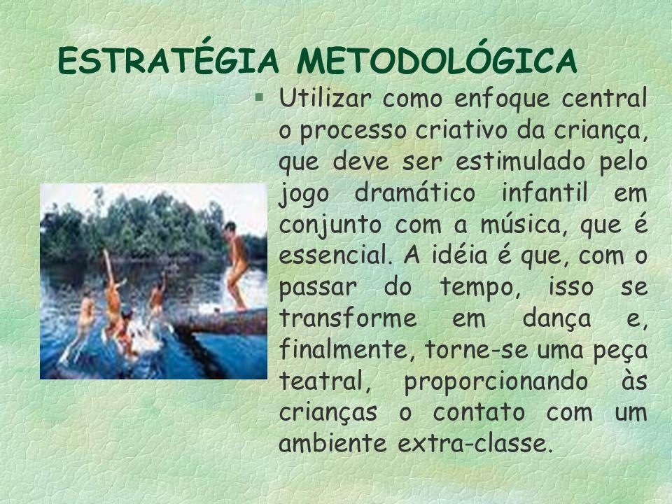 ESTRATÉGIA METODOLÓGICA §Utilizar como enfoque central o processo criativo da criança, que deve ser estimulado pelo jogo dramático infantil em conjunto com a música, que é essencial.