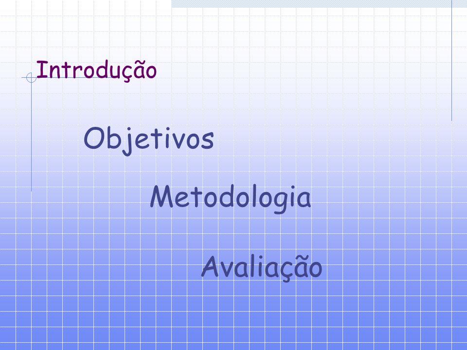 Introdução Objetivos Metodologia Avaliação