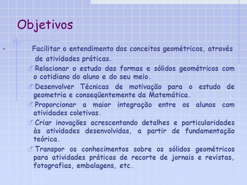 Objetivos - Facilitar o entendimento dos conceitos geométricos, através de atividades práticas.