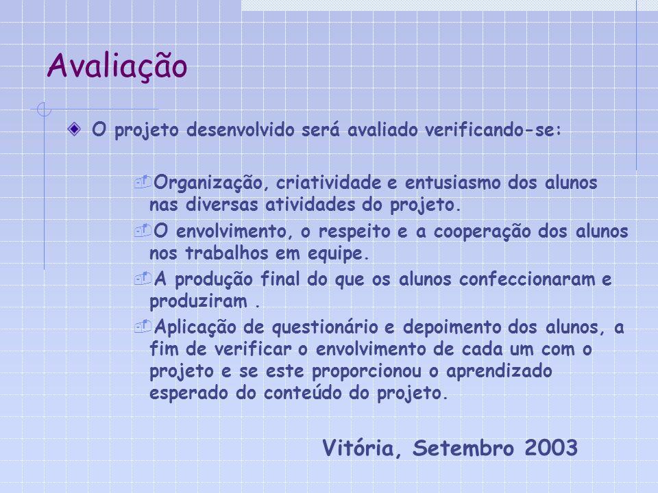Avaliação O projeto desenvolvido será avaliado verificando-se: Organização, criatividade e entusiasmo dos alunos nas diversas atividades do projeto.