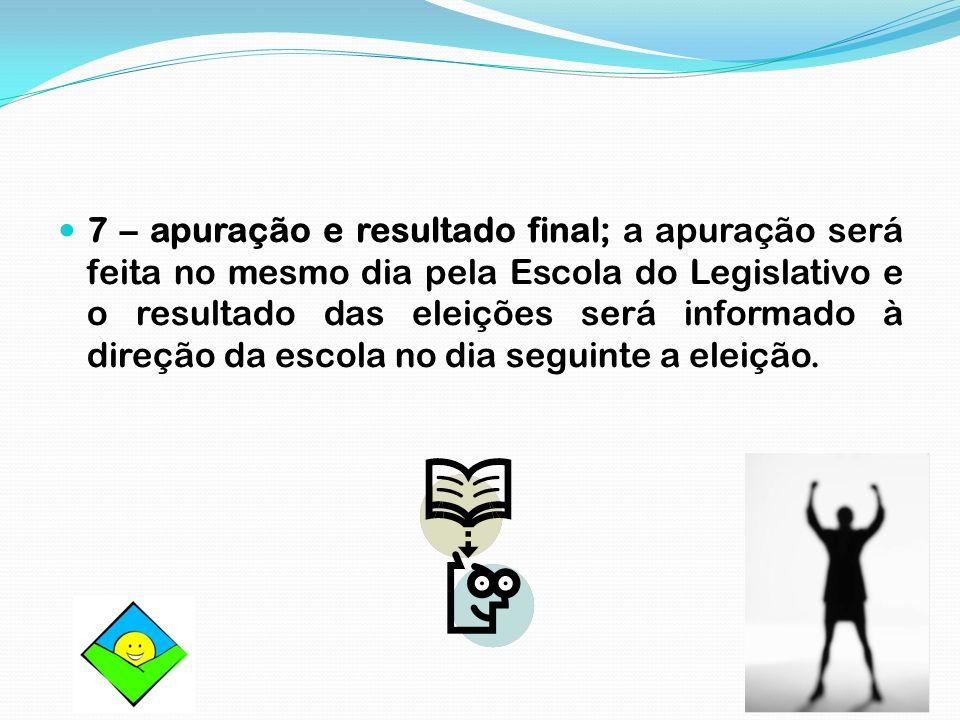 7 – apuração e resultado final; a apuração será feita no mesmo dia pela Escola do Legislativo e o resultado das eleições será informado à direção da e
