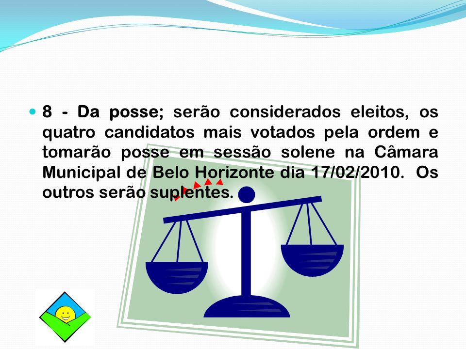 8 - Da posse; serão considerados eleitos, os quatro candidatos mais votados pela ordem e tomarão posse em sessão solene na Câmara Municipal de Belo Ho