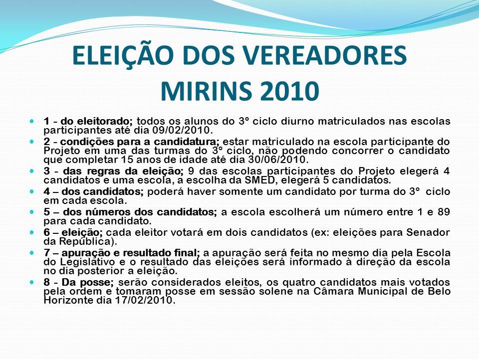 ELEIÇÃO DOS VEREADORES MIRINS 2010 1 - do eleitorado; todos os alunos do 3º ciclo diurno matriculados nas escolas participantes até dia 09/02/2010. 2