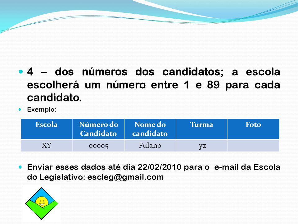4 – dos números dos candidatos; a escola escolherá um número entre 1 e 89 para cada candidato. Exemplo: Enviar esses dados até dia 22/02/2010 para o e